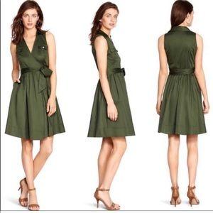 {White house black market} green tie around dress